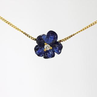Carved Sapphire and Diamond Necklace