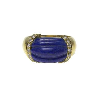 Fluted Lapis Lazuli and Diamond Ring