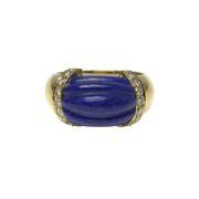 Fluted Lapis Lazuli and Diamond Ring